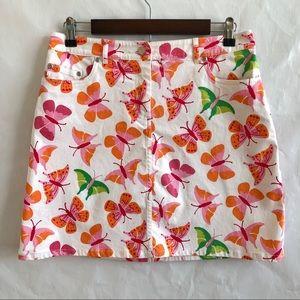 Lilly Pulitzer Skirts - Lilly Pulitzer Butterflies White Denim Skirt